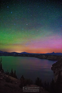 """The Magic Cauldron,"" the Aurora Borealis over Cloudcap Bay, Crater Lake, Crater Lake National Park"