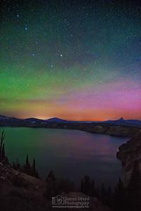 """The Magic Cauldron,"" the Aurora Borealis over Cloudcap Bay, Crater Lake, Crater Lake National Park"