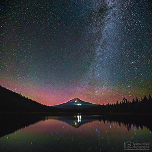 """Reflected Beauty,"" Trillium Lake, Mount Hood Night and faint Aurora Borealis Reflections, Mount Hood, Mt Hood National Forest, Oregon"