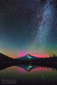"""Alpine Mirror,"" The Aurora Borealis and Milky Way over Mt Hood and Trillium Lake, Mt Hood National Forest"