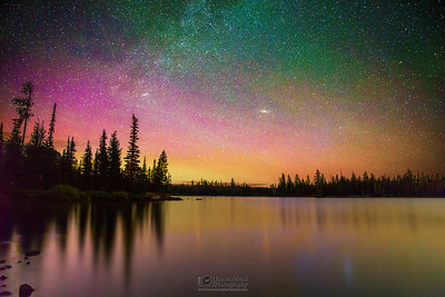 """Halfway There,"" The Aurora Borealis and Milky Way over Big Lake, Willamette National Forest"