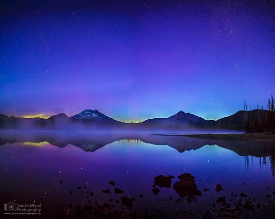 """Blue Flame,"" Aurora Borealis Sunrise Reflections over Sparks Lake, Deschutes National Forest, Oregon"