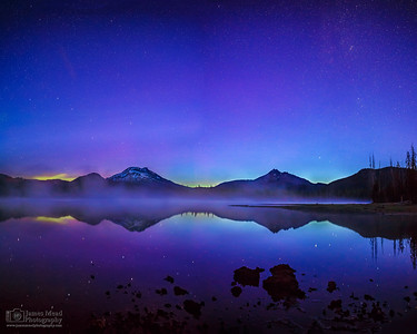 """Blue Flame,"" Aurora Borealis Sunrise Reflections over Sparks Lake, Deschutes National Forest, Oregon"