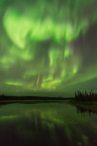 Northern Lights reflections, Ingraham trail Canada