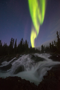 Twilight aurora over Cameron Falls, Canada