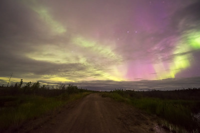 Cloudy aurora colors off the beaten path, Northwest territories Canada