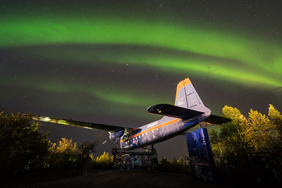 Northern lights over Bristol monument, Yellowknife Canada