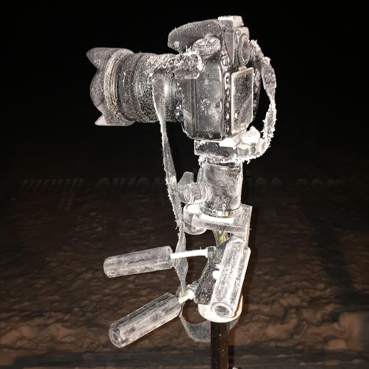 Nikon D800 camera at minus 30°F