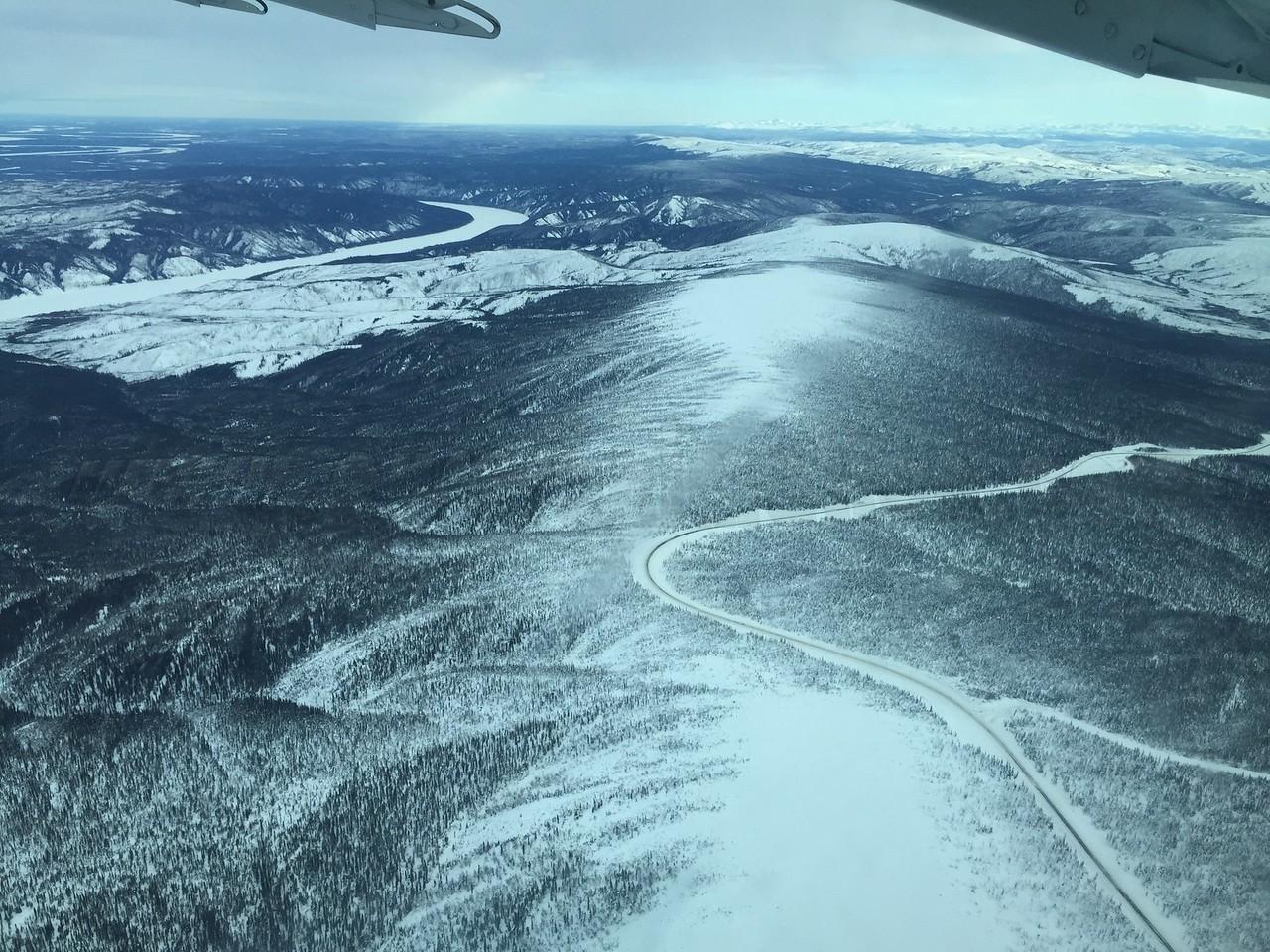 Aerial view of Dalton Hwy and Yukon River