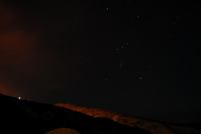 Looking back at Orion behind me as it stands overtop the hill.