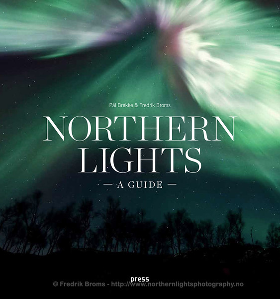 "Cover of ""Northern Lights - A Guide"" a popular science book available in English and Norwegian from Forlaget Press publisher"