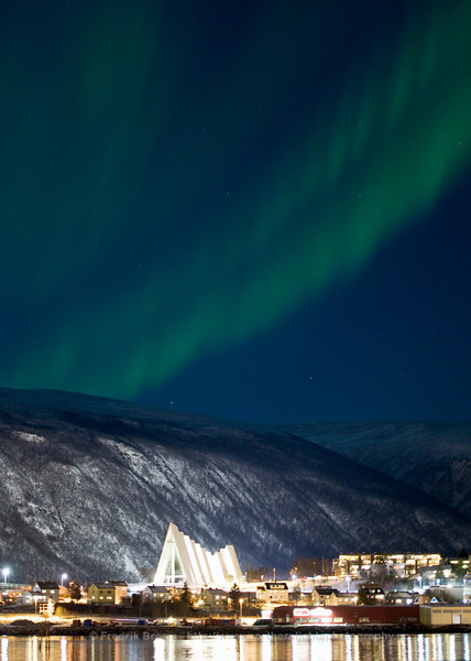 Aurora over the Arctic Cathedral in Tromsø, Norway