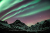 Intense Auroras over the Mountains of Kvaløya, Norway