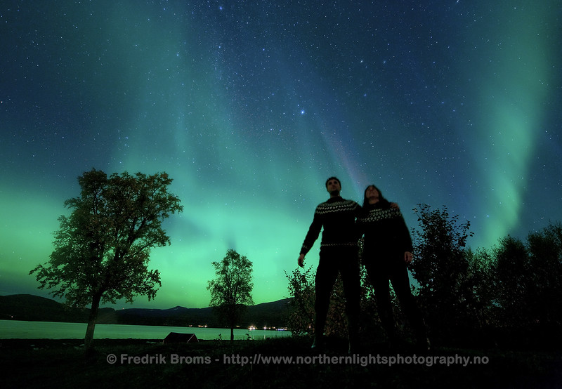 Aurora Watchers on a Magic Night, Norway