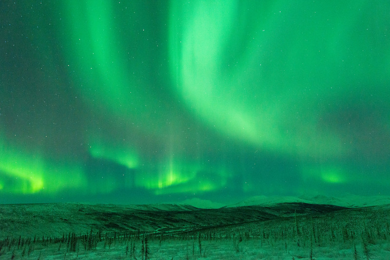 Aurora over the White Mountains National Recreation Area, north of Fairbanks, Alaska.