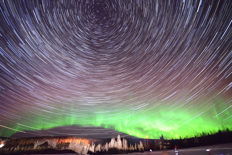 A dramatic time lapse of the stars and aurora just outside of Fairbanks, Alaska.
