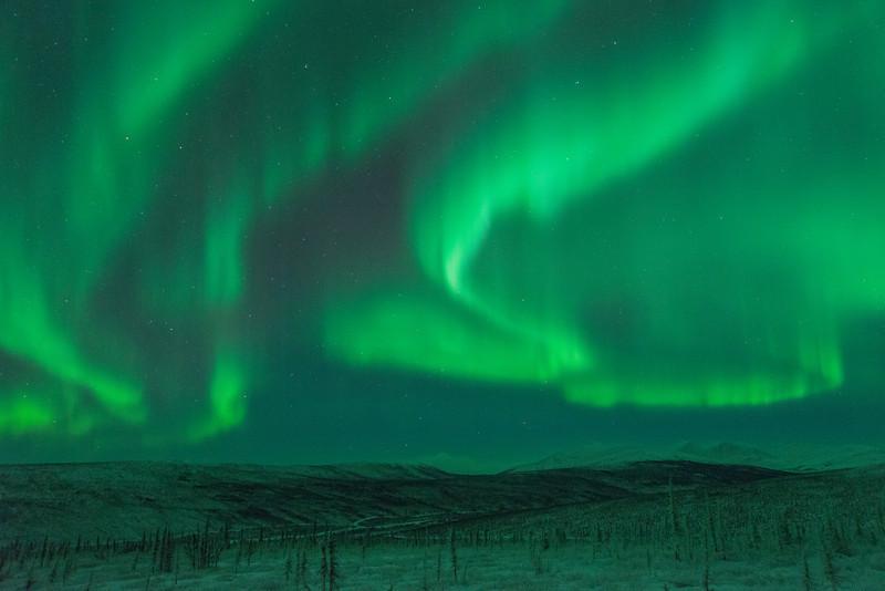 Aurora over the White Mountains National Recreation Area, north of Fairbanks, Alaska.