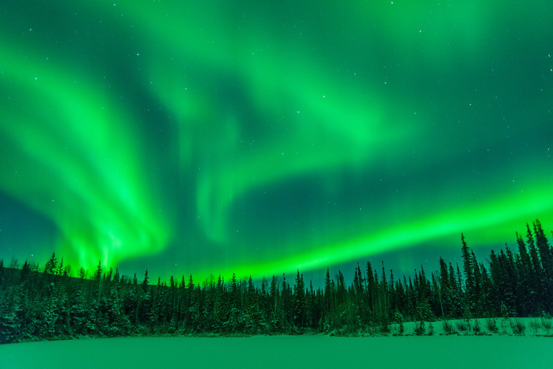 Credit: Sherman Hogue/Explore Fairbanks<br /> <br /> Aurora near Fairbanks, Alaska.