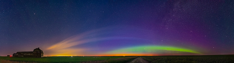 Panorama of Aurora and Solstice Twilight at the Old Barn