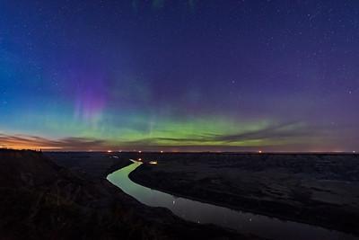 Aurora in Twilight over Red Deer River