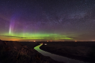 Aurora and Milky Way over Red Deer River