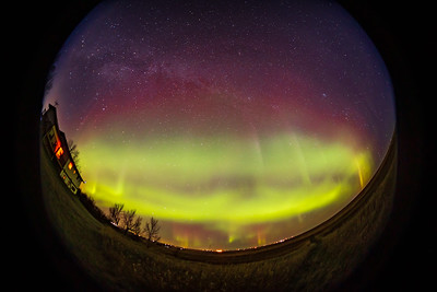 Aurora with Red Curtains - Fish-Eye (Oct 11, 2021)