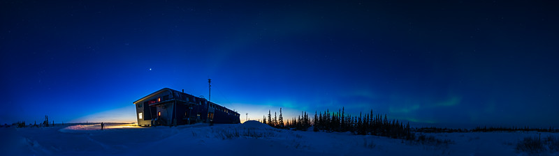 Aurora in Twilight at Churchill Northern Studies Centre