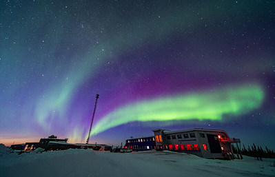 Aurora in Twilight over Churchill Northern Studies Centre