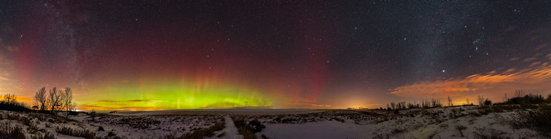 Panorama of the Northern Lights and Winter Stars