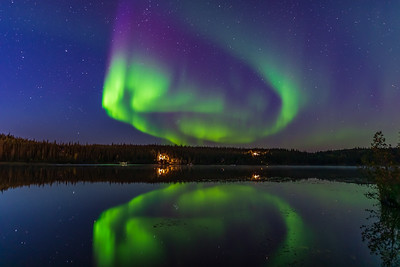 Aurora in the Twilight at Madeline Lake