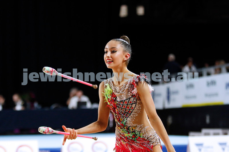 2018 Australian Gymnastics Championships. Hisense Arena, Melbourne. Alexandra Kiroi-Bogatyreva. Rhythmic Gymnastics, Senior International. Clubs. Photo: Peter Haskin