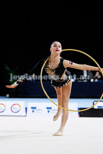 2018 Australian Gymnastics Championships. Hisense Arena, Melbourne. Rashelle Feldman. Rhythmic Gymnastics, Junior International. Photo: Peter Haskin