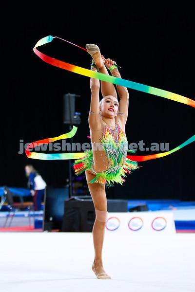 2018 Australian Gymnastics Championships. Hisense Arena, Melbourne. Alexandra Kiroi-Bogatyreva. Rhythmic Gymnastics, Senior International. Ribbon. Photo: Peter Haskin