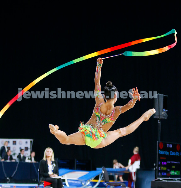 2018 Australian Gymnastics Championships. Hisense Arena, Melbourne. Alexandra Kiroi-Bogatyreva. Rhythmic Gymnastics, Senior International. Ribbon. Photo: Peter Haskin