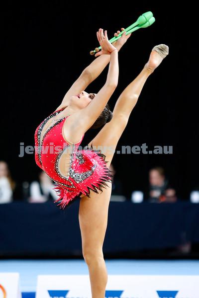 2018 Australian Gymnastics Championships. Hisense Arena, Melbourne. Rashelle Feldman. Rhythmic Gymnastics, Junior International. Clubs. Photo: Peter Haskin