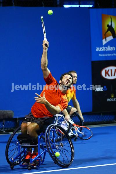 28-1-16. Australian Open 2016. Adam Kellerman (AUS) and Maikel Scheffers (NED). Wheel chair doubles. Photo: Peter Haskin