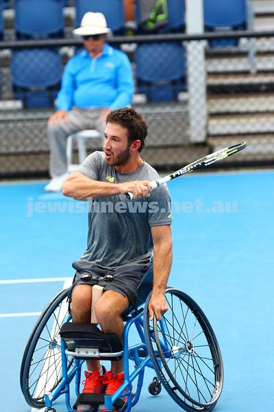 27-1-16. Australian Open 2016. Adam Kellerman v Gustavo Fernandez. Mens Wheel chair. Photo: Peter Haskin
