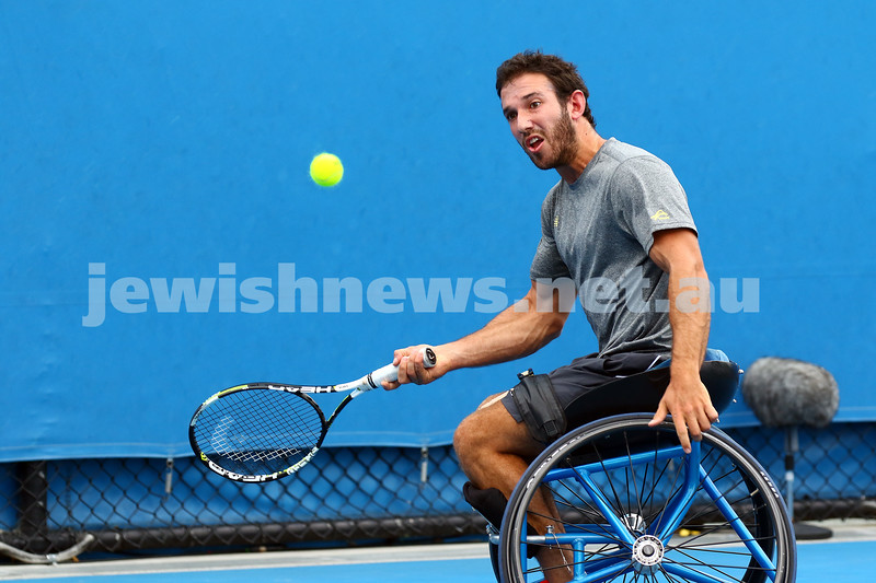 27-1-16. Australian Open 2016. Adam Kellerman v Gustavo Fernandez. Mens Wheel chair. Photo: Peter Haskin