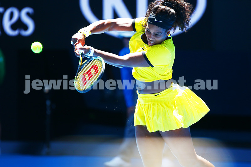 18-1-16. Australian Open 2016. Womens singles round 1. Serena Williams def Camila Giorgi 6-4 7-5. Photo: Peter Haskin