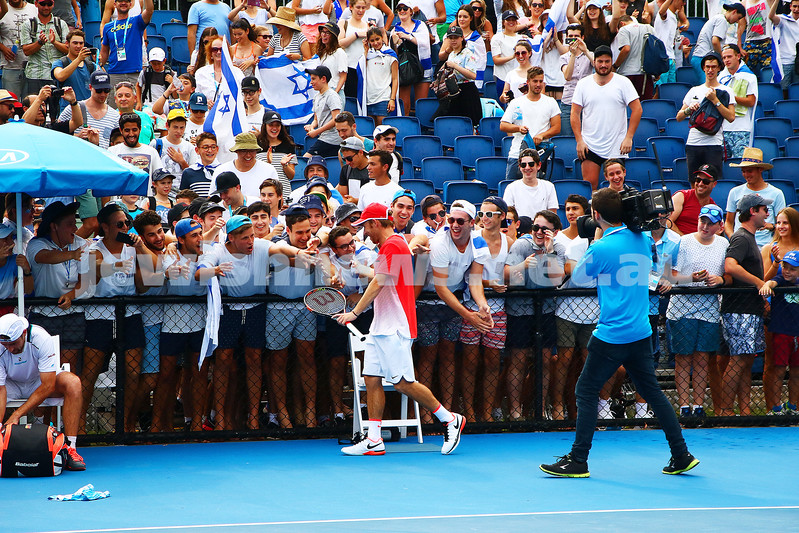 19-1-16. Australian Open 2016. Mens Round 1. Dudi Sela defeated Benjamin Becker from Germany 6-1 6-3 2-6 6-2.  Photo: Peter Haskin