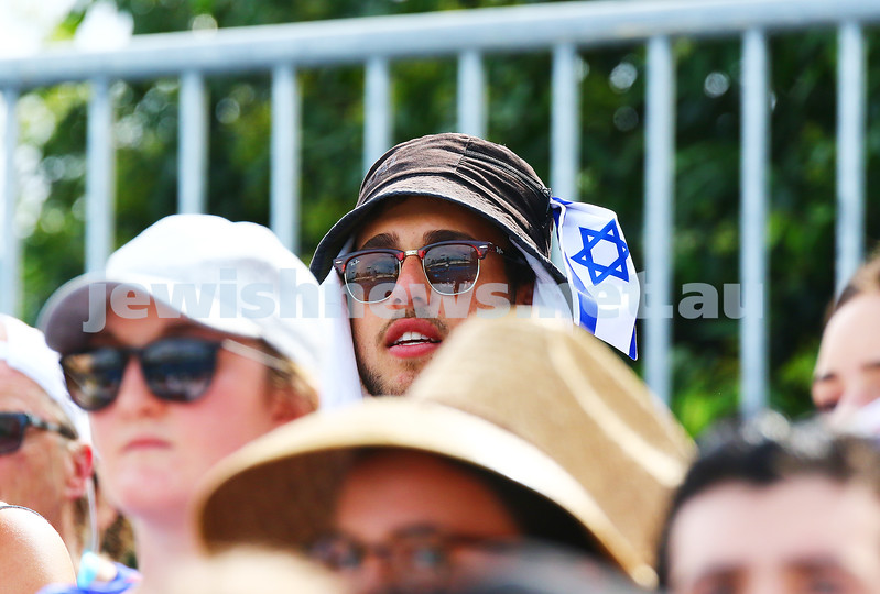 19-1-16. Australian Open 2016. Mens Round 1. Dudi Seli def Benjamin Becker (Ger) 6-2 6-3 2-6 6-2. Fan with flag. Photo: Peter Haskin