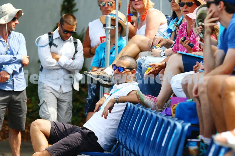 19-1-16. Australian Open 2016. Mens Round 1. Dudi Seli def Benjamin Becker (Ger) 6-2 6-3 2-6 6-2. Former Isreali doubles champion Andy Ram looks on.  Photo: Peter Haskin