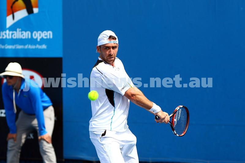 19-1-16. Australian Open 2016. Mens Round 1. Dudi Seli def Benjamin Becker (Ger) 6-2 6-3 2-6 6-2. Photo: Peter Haskin