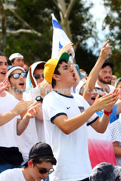 19-1-16. Australian Open 2016. Mens Round 1. Dudi Seli def Benjamin Becker (Ger) 6-2 6-3 2-6 6-2. Dudi Sela fans cheering him on. Photo: Peter Haskin