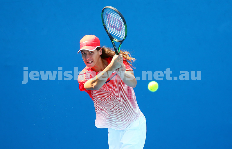 24-1-16. Australian Open 2016. Day 7. Junior boys singles round 1. Tao Mu (CHN) defeats Yshai Oliel (ISR)	4-6 6-3 7-5 . Photo: Peter Haskin