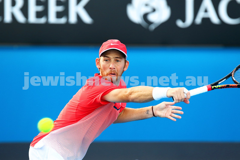 23-1-16. Australian Open 2016. Day 6. Mens Round 3. Andrey Kuznetsov (RUS) defeats Dudi Sela (ISR) 7-5 3-6 6-1 7-6(4). Dudi Sela.  Photo: Peter Haskin