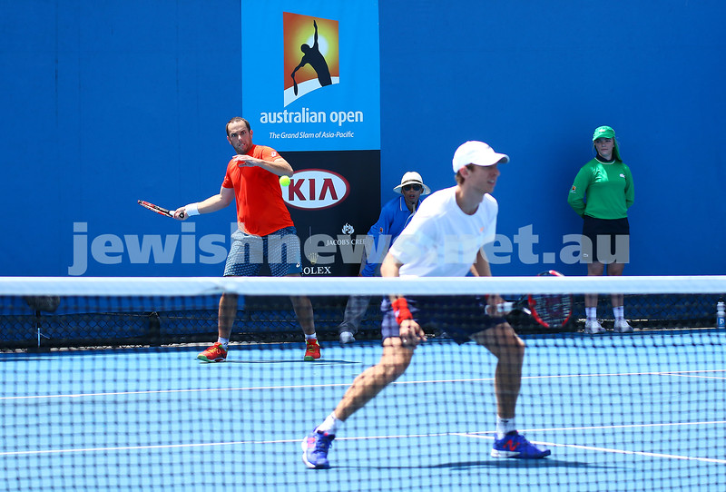 23-1-16. Australian Open 2016. Day 6. Mens doubles round 2. Dominic Inglot (GBR) [11] Robert Lindstedt (SWE) [11] defeats Eric Butorac (USA) Scott Lipsky (USA) 7-6(5) 6-7(5) 6-4 . Photo: Peter HaskinCompleted Photo: Peter Haskin