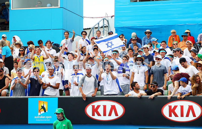23-1-16. Australian Open 2016. Day 6. Mens Round 3. Andrey Kuznetsov (RUS) defeats Dudi Sela (ISR) 7-5 3-6 6-1 7-6(4). The Dudi army in full voice. Photo: Peter Haskin