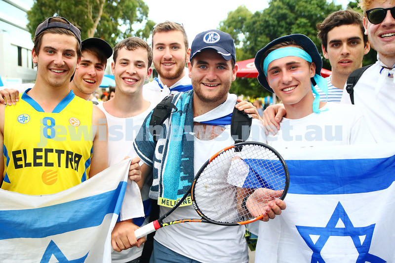 23-1-16. Australian Open 2016. Dudi Sela fans. Israeli flags. Happy fan who got Dudi's raquet. photo: peter haskin