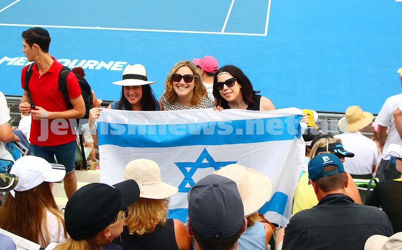 21-1-16. Australian Open 2016. Dudi Sela fans. Israeli flags. photo: peter haskin